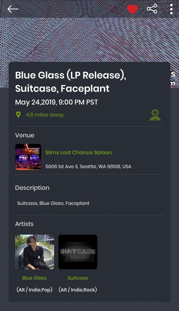showground screenshot of the Blue Glass LP Release Concert in Seattle this Memorial Day weekend