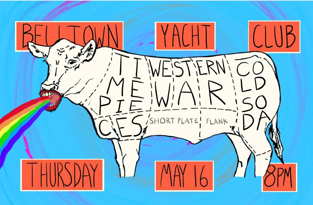 Time Pieces Event Poster at Belltown Yacht Club with Western War and Cold Soda